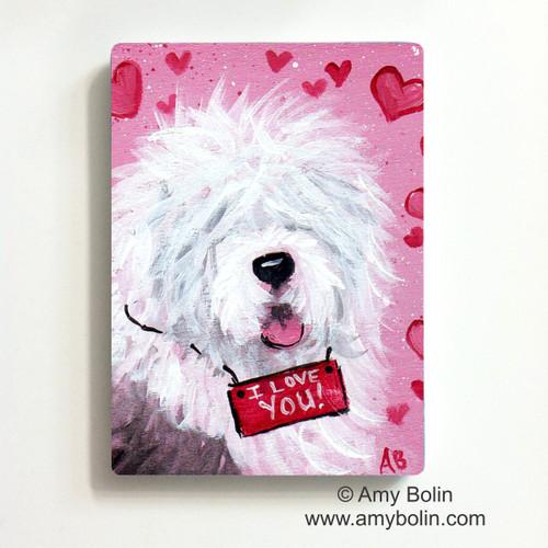 """Valentine: Valentine Kisses"" Old English Sheepdog Magnet"