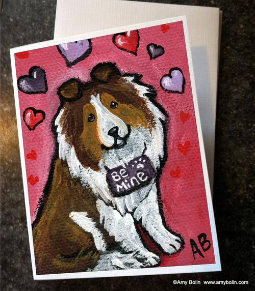 """Valentine's Day: My Valentine"" Sable Shetland Sheepdog Note Cards"