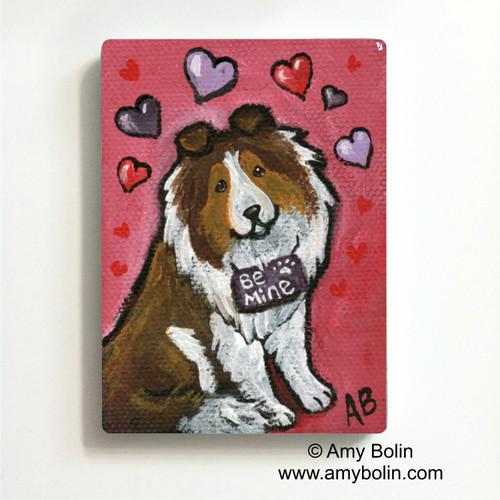"""""""Valentine's Day: My Valentine"""" Sable Shetland Sheepdog Magnet"""