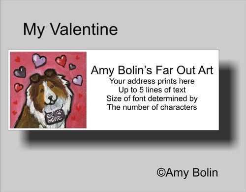 """""""Valentine's Day: My Valentine"""" Sable Shetland Sheepdog Address Labels"""