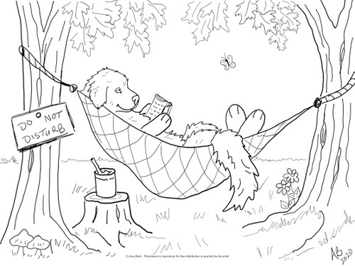 "FREE COLORING SHEET DOWNLOAD · ""Summer Is For Reading"" · Great Pyrenees · AMY BOLIN"