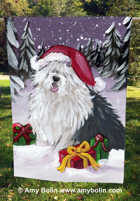 """""""Merry Christmas"""" Old English Sheepdog House Flag"""