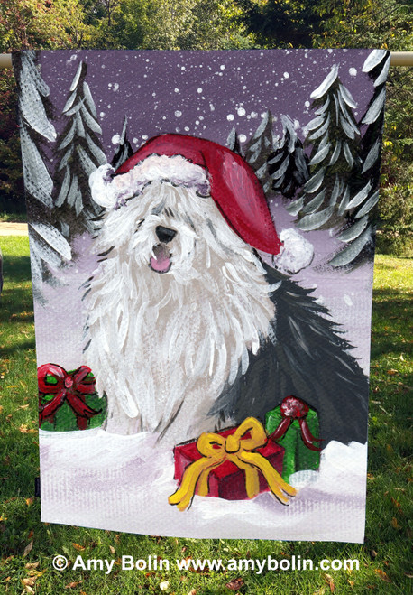 """Merry Christmas"" Old English Sheepdog House Flag"