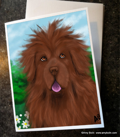 """""""Shaggy"""" Brown Newfoundland Note Cards"""