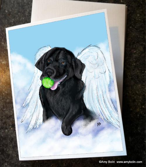 """""""Playful Angel"""" Black Labrador Retriever Note Cards"""
