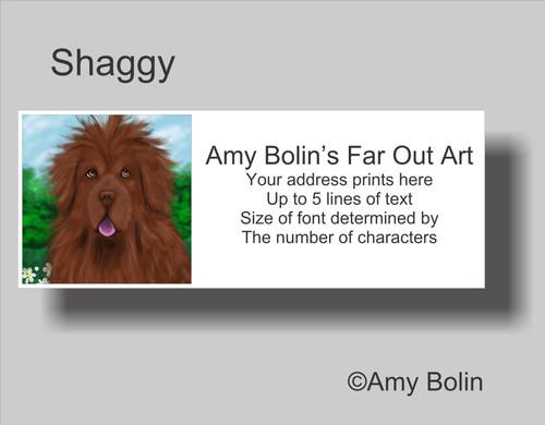 """Shaggy"" Brown Newfoundland Address Labels"