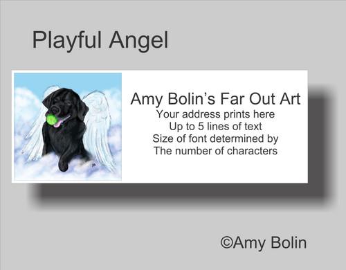 """Playful Angel"" Black Labrador Retriever  Address Labels"