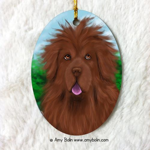 """Shaggy"" Brown Newfoundland Ceramic Ornament Oval"