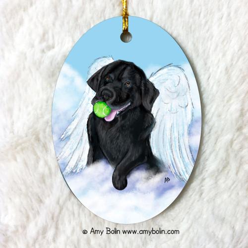 """""""Playful Angel"""" Black Labrador Retriever Ceramic Ornament Oval"""
