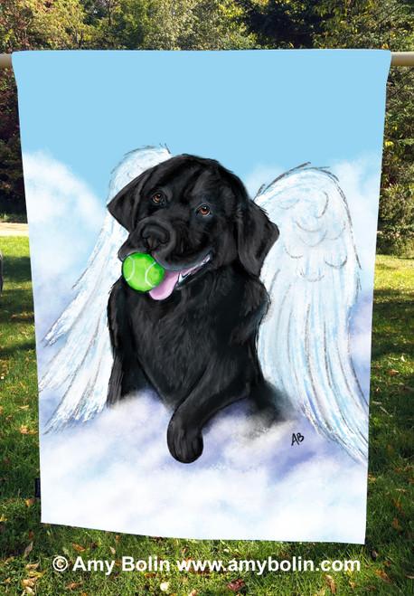 """Playful Angel"" Black Labrador Retriever House Flag (double ply)"