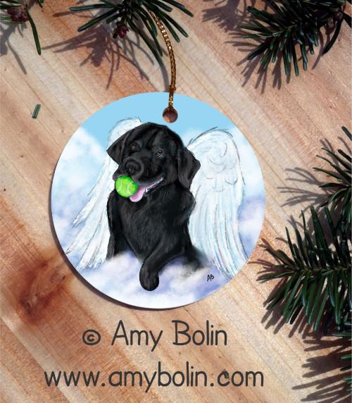 """""""Playful Angel"""" Black Labrador Retriever Ceramic Ornament Round"""