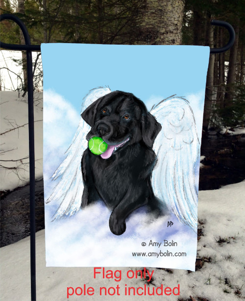 """Playful Angel"" Black Labrador Retriever Garden Flag"