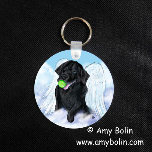 """Playful Angel"" Black Labrador Retriever Key Chain"