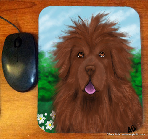 """Shaggy"" Brown Newfoundland Mouse Pad"