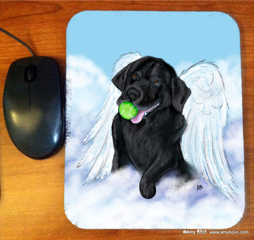 """Playful Angel"" Black Labrador Retriever Mouse Pad"