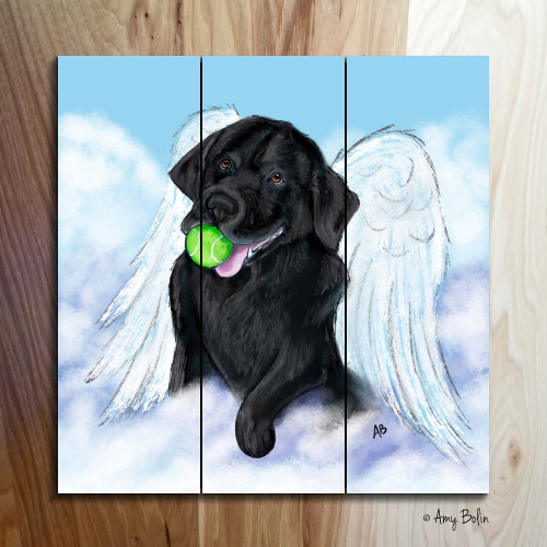 """Playful Angel"" Black Labrador Retriever Wooden Cottage Style Sign (SQUARE)"