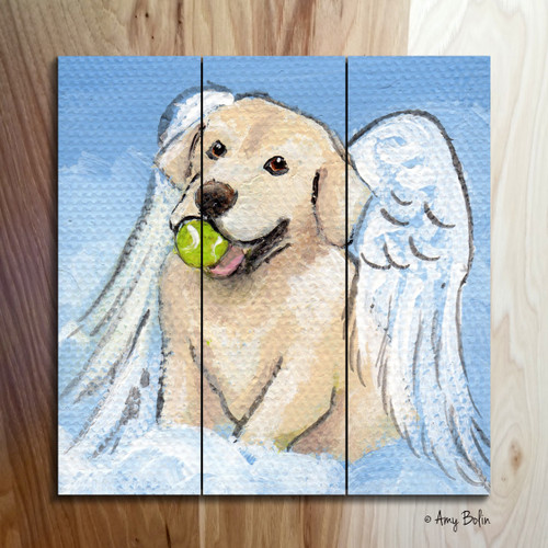 """Playful Angel"" Yellow Labrador Retriever Wooden Cottage Style Sign (SQUARE)"