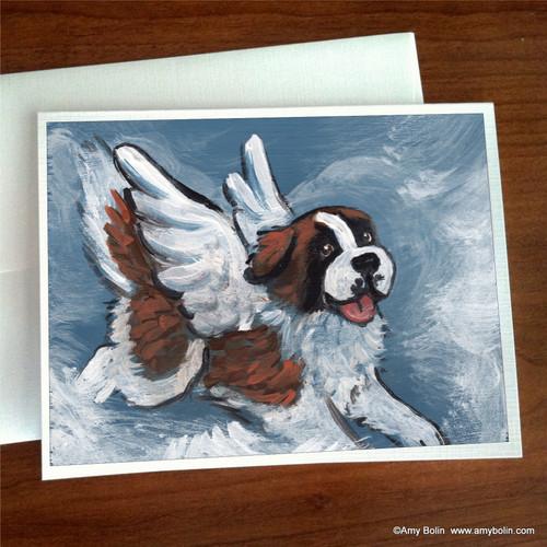 """""""Playful Angel"""" Saint Bernard Note Cards"""