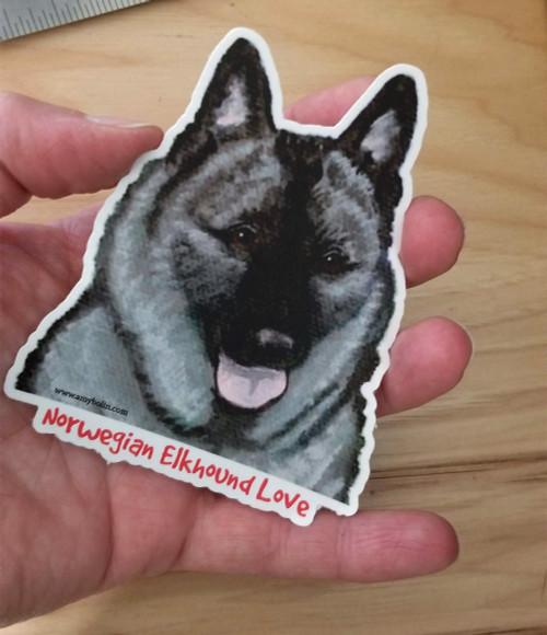 """""""Norwegian Elkhound Love"""" Norwegian Elkhound Decal / Sticker"""