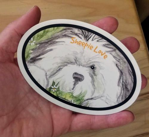 """Sheepie Love"" Old English Sheepdog dog Decal / Sticker"
