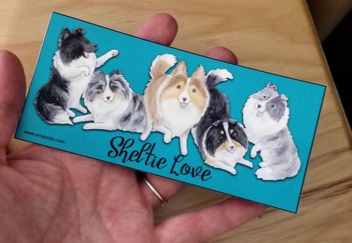 """Sheltie Love"" Bi Black, Bi Blue, Blue Merle, Sable, and Tri Color Sheltie Decal / Sticker"