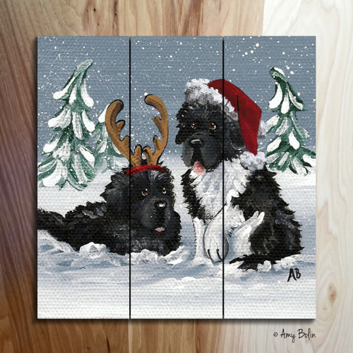 """Christmas Buddies"" Black, Landseer Newfoundlands Wooden Cottage Style Sign (SQUARE)"