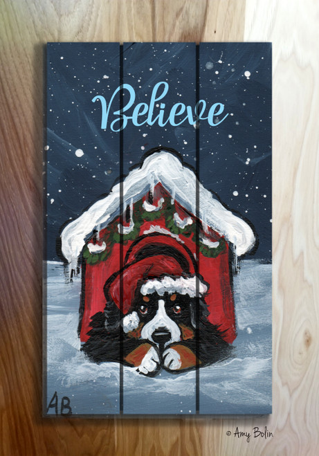 """Believe"" Bernese Mountain Dog Wooden Cottage Style Sign (RECTANGLE)"