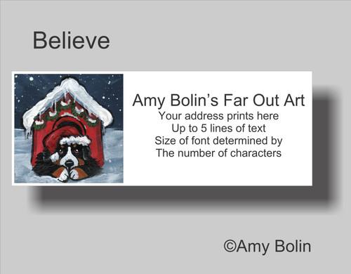 """Believe"" Bernese Mountain Dog Address Labels"