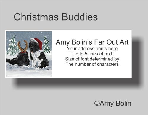 "Christmas:  ""Christmas Buddies"" Black, Landseer Newfoundland Dogs Address Labels"