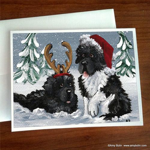 "Christmas :  ""Christmas Buddies"" Black, Landseer Newfoundlands Note Cards"