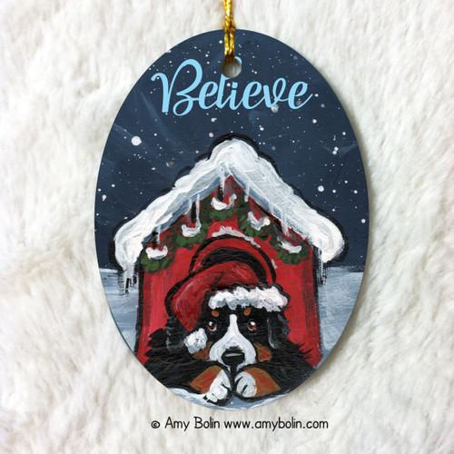 """Believe"" Bernese Mountain Dog Ceramic Ornament Oval"