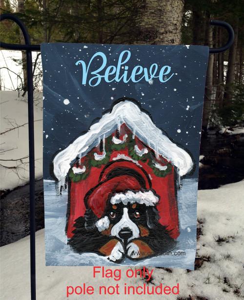 """Believe"" Bernese Mountain Dog Garden Flag"