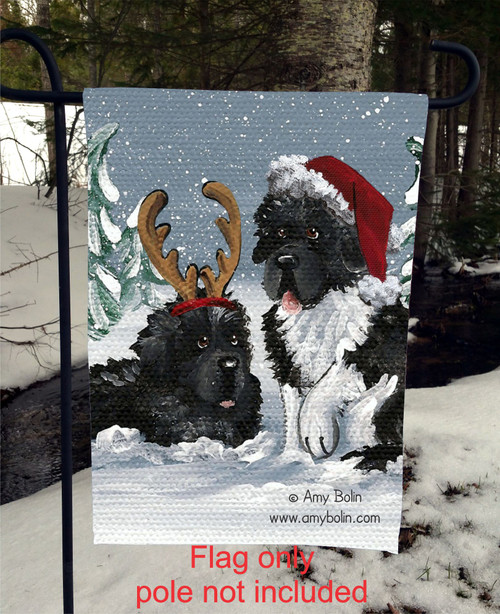 """Christmas Buddies"" Black, Landseer Newfoundlands Garden Flag"