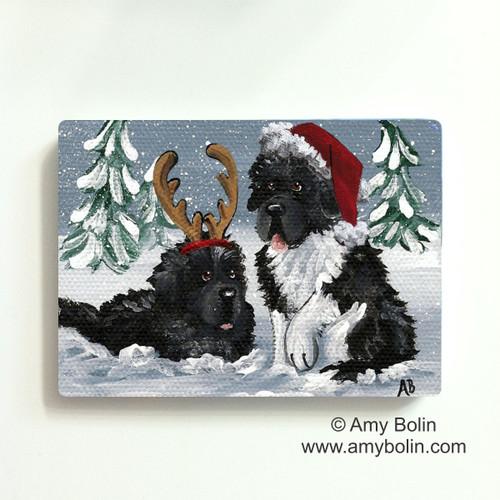 """""""Christmas Buddies"""" Black, Landseer Newfoundland dogs Magnet"""