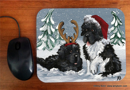 """Christmas Buddies"" Black, Landseer Newfoundlands Mouse Pad"