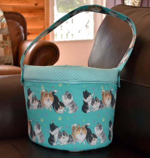 "Handmade Toy Bucket            ""Shades of Shelties""    Shetland Sheepdogs       y Dawn Johnson"