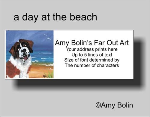 """""""A Day At The Beach"""" Saint Bernard Address Labels"""