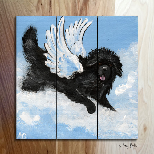 """Playful Angel"" Black Newfoundland Wooden Cottage Style Sign (SQUARE)"
