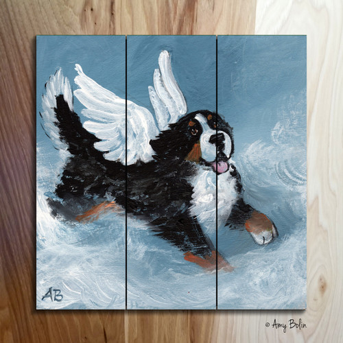 """Playful Angel"" Bernese Mountain Dog Wooden Cottage Style Sign (SQUARE)"