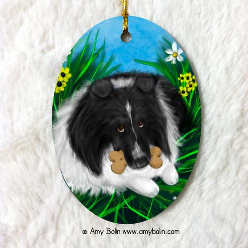 """A Secret Treat"" Bi Black Shetland Sheepdog Ceramic Ornament Oval"
