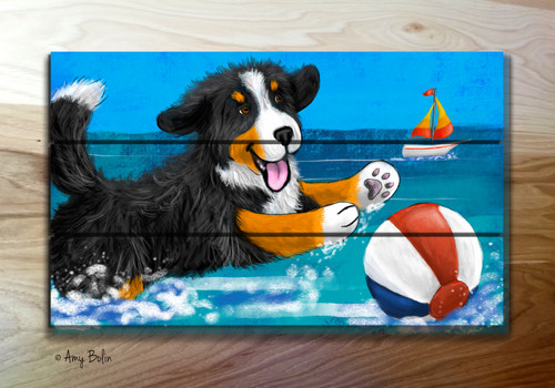 """Summertime Fun"" Bernese Mountain Dog Wooden Cottage Style Sign (RECTANGLE)"