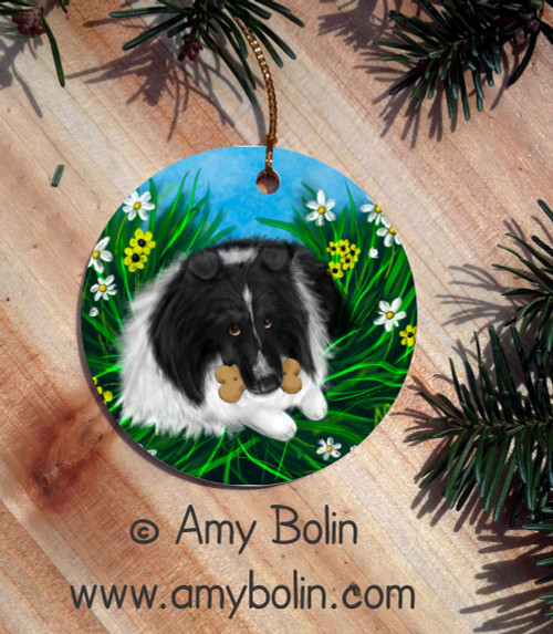 """A Secret Treat"" Bi Black Shetland Sheepdog Ceramic Ornament Round"