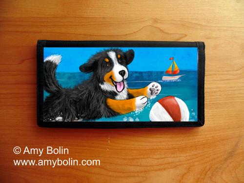 """""""Summertime Fun"""" Bernese Mountain Dog Checkbook Cover"""