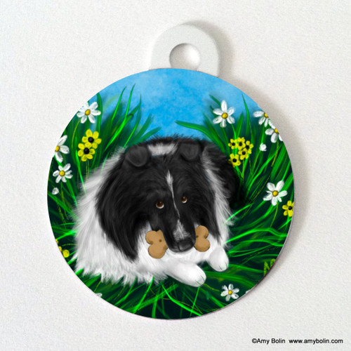 """A Secret Treat"" Bi Black Shetland Sheepdog Double Sided Pet ID Tag"