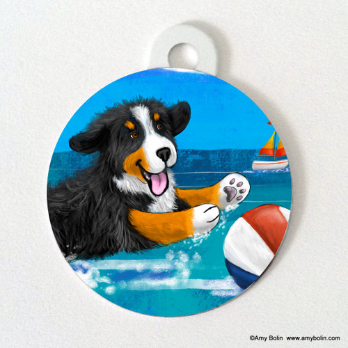"""""""Summertime Fun"""" Bernese Mountain Dog Double Sided Pet ID Tag"""