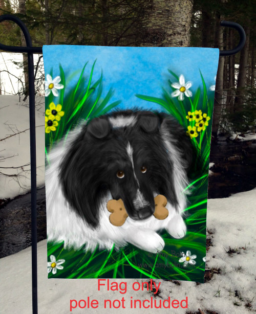 """A Secret Treat"" Bi Black Shetland Sheepdog Garden Flag"