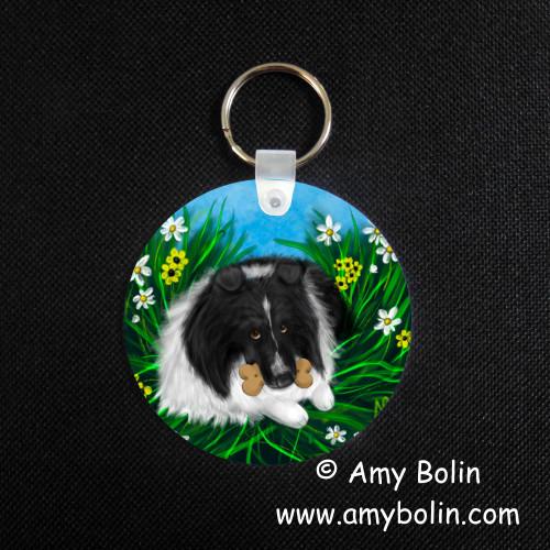 """A Secret Treat"" Bi Black Shetland Sheepdog Keychain"