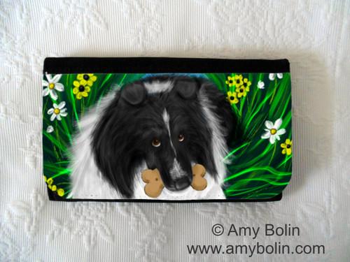 """""""A Secret Treat"""" Bi Black Shetland Sheepdog Large Organizer Wallet"""