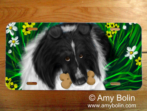 """A Secret Treat"" Bi Black Shetland Sheepdog License Plate"