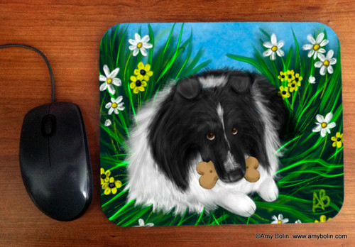 """A Secret Treat"" Bi Black Shetland Sheepdog Mouse Pad"